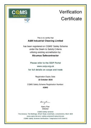 COMS - Safety Scheme Certificate