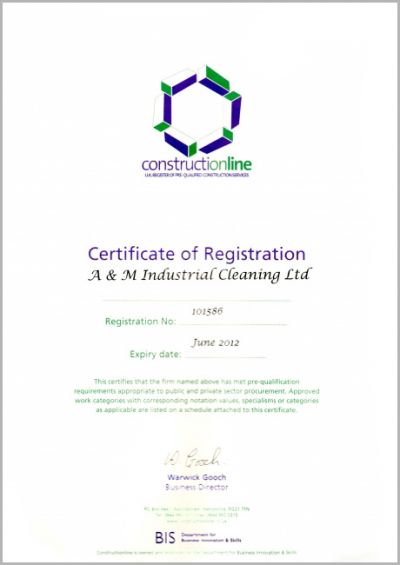 Constructionline - Certificate of Registration